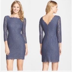 Adrianna Papell Fitted Lavender Lace Midi Dress